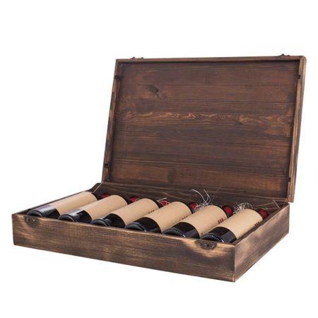 Drveni kovčeg sa šest vinskih boca